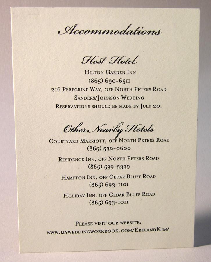 reception accommodation cards